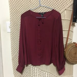 SILKY BLOUSE - TIE FRONT- F21 SMALL